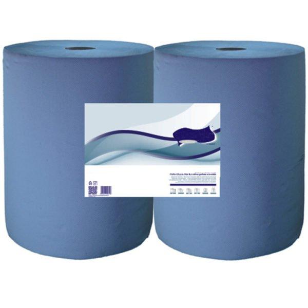 Rola hartie industriala albastra, 3 straturi, dim. laveta 34 x 38 cm, 500 lavete/rola, 2 role/bax