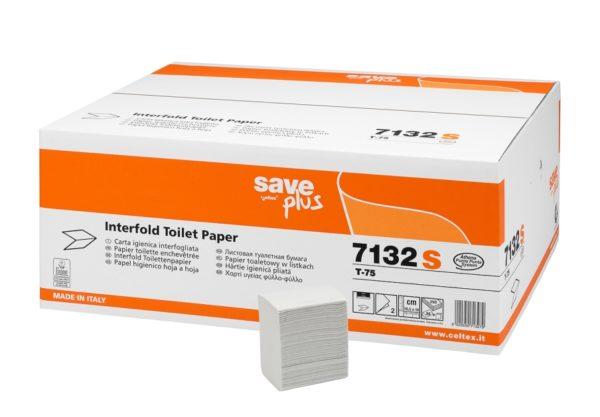 Hartie igienica intercalata Celtex Save Plus ( bulk pack ), 2 straturi, 250 buc / pach, 36 pach/bax