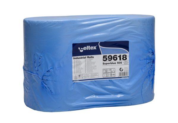 Rola hartie industriala albastra Celtex Superblue 59618, 3 straturi, dim. laveta 36 x 36 cm, 500 lavete/rola, 2 role/bax