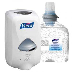 Dozator cu senzor + rezerva gel dezinfectant maini Gojo Purell Advanced TFX, 1200 ml