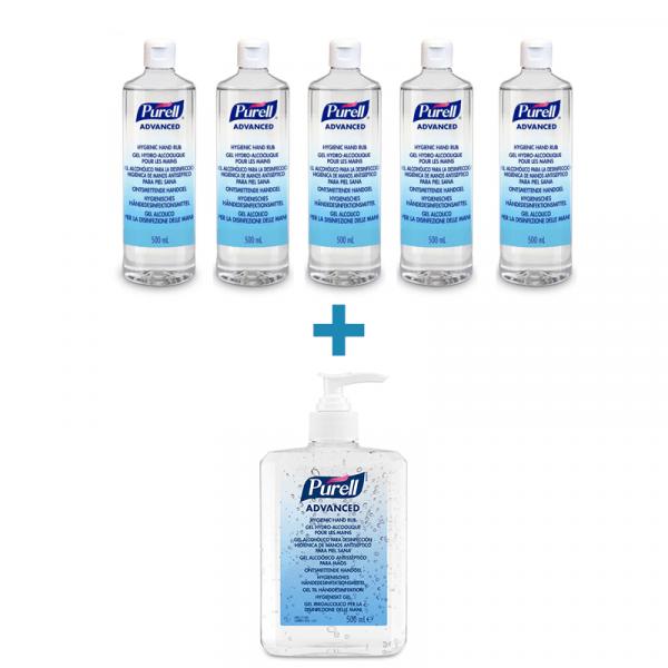 pachet-dezinfectant-de-maini-5+1-Purell-Advanced-500ml
