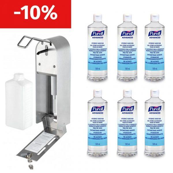 Dispenser dezinfectant + 6 flacoane dezinfectant Purell