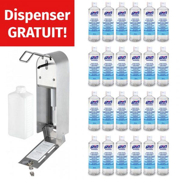 Pachet Dispencer Dezinfectant Inox Gratuit + 24 flacoane Dezinfectant Purell Advanced 500ml