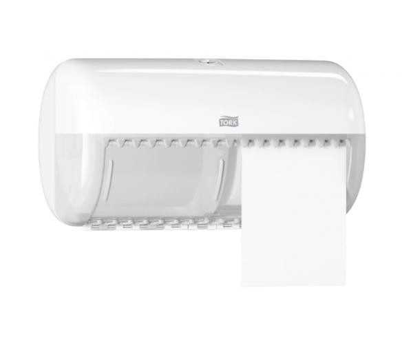 Dispenser hartie igienica dublu, alb, pentru rola mica Tork T4 557000