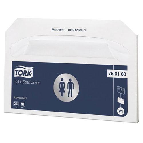 Hartie de acoperit colacul de WC Tork 750160 V1 albe, 250 buc/pachet