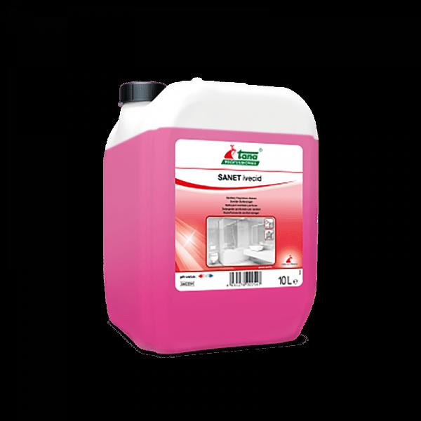 Detergent concentrat SANET ivecid, pentru spatii sanitare, cu miros persistent, 10l-402254