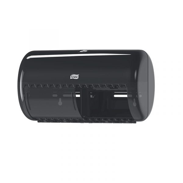 Dispenser hartie igienica dublu, negru, pentru rola mica Tork T4 557008