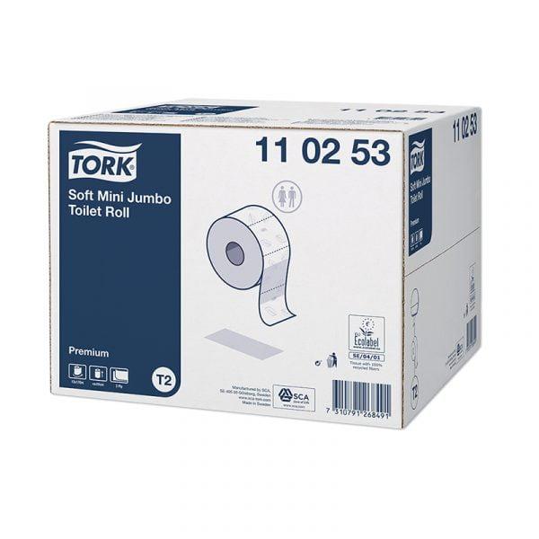 Hartie igienica rola Tork Soft Mini Jumbo 110253 T2, 2 straturi, 170 m rola, 12 role/bax