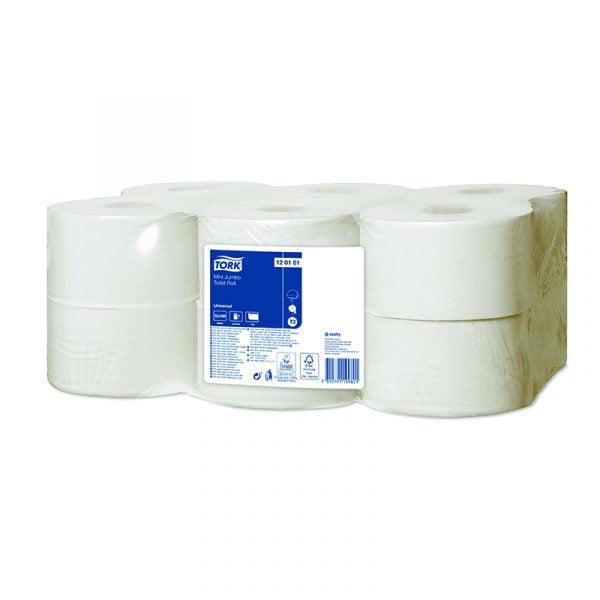 Hartie igienica universala Tork Mini Jumbo 120161 T2, 1 strat, 240 m/rola