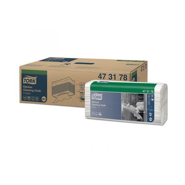 Lavete rezistente pentru bucatarie Tork 473178 W4, albe, 80/pachet