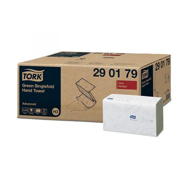 Prosoape de hartie Tork Singlefold Advanced H3 290179,  verzi, 2 straturi, 250 foi/pachet