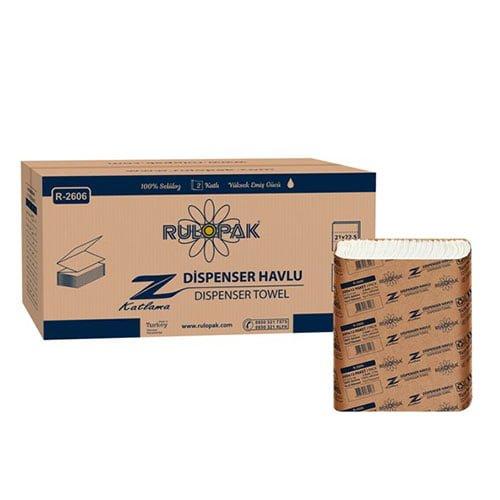 Prosoape de hartie impaturite Z fold R2606, 2 straturi, 200 prosoape/pachet, 12 pachete/bax