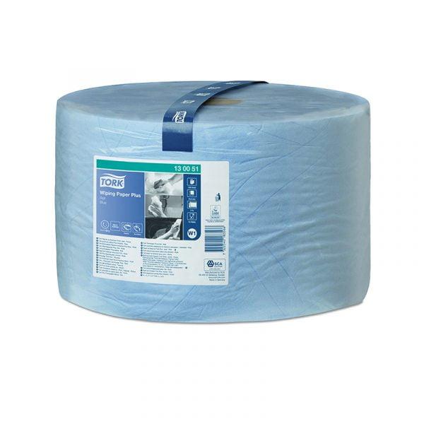 Rola laveta hartie Tork Plus 130051 W1, albastra, 2 straturi, 510 m/rola