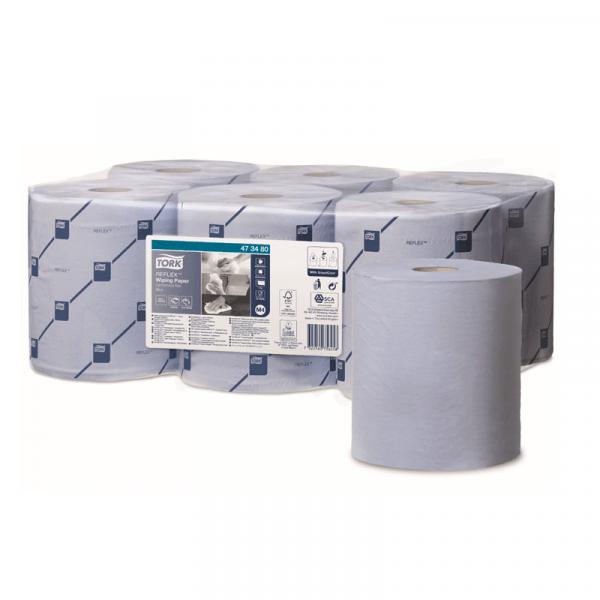 Rola lavete hartie derulare centrala Tork Reflex 473480 M4, albastra, 1 strat, 269,7 m/rola