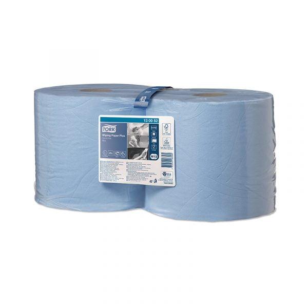 Rola lavete industriale Tork Plus 130052 W2, albastre, 255m/rola, 2 role / bax