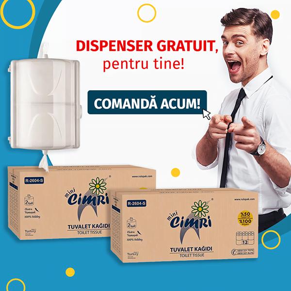 Dispenser hartie igienica derulare centrala GRATUIT + 2 baxuri hartie igienica