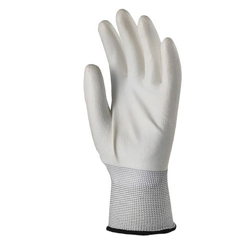 Manusi albe de protectie cu imersie poliuretan(PU) pe palma
