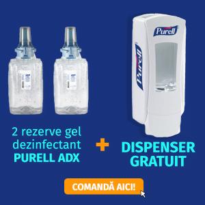 Dispenser dezinfectant Purell ADX cu actionare manuala GRATUIT + 2 rezerve dezinfectant de maini Purell ADX 1200 ml