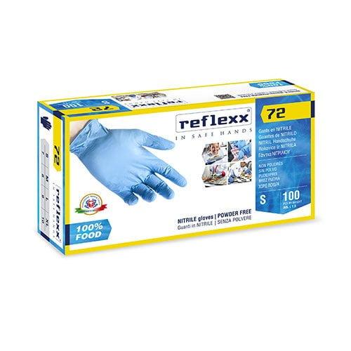 Manusi nitril nepudrate Reflexx R72 0.08 grosime, 24cm lungime, 100 manusi / cutie