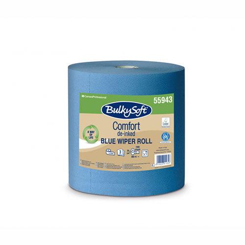 Rola industriala Bulkysoft Comfort, albastra, 3 straturi, 36x36 cm, 1000 portii/rola, 360 m
