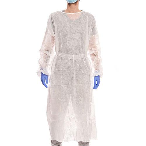 Halat vizitator de unica folosinta, alb, grosime - 25gsm, 100% polipropilena