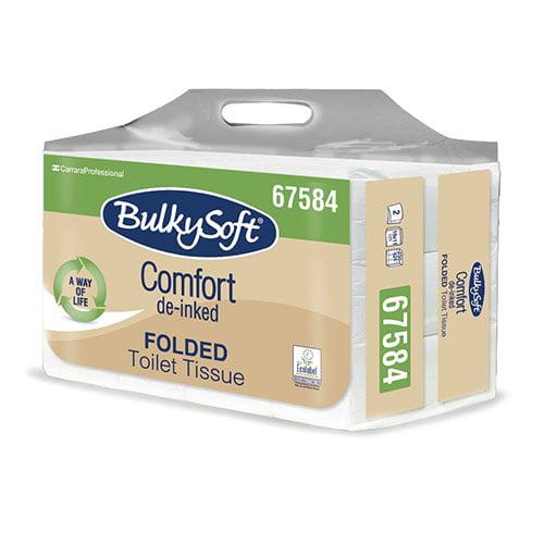 Hartie igienica intercalata Bulkysoft Comfort, Hostess, alba , 250 portii/pachet,19x11cm, 24 pachete/bax