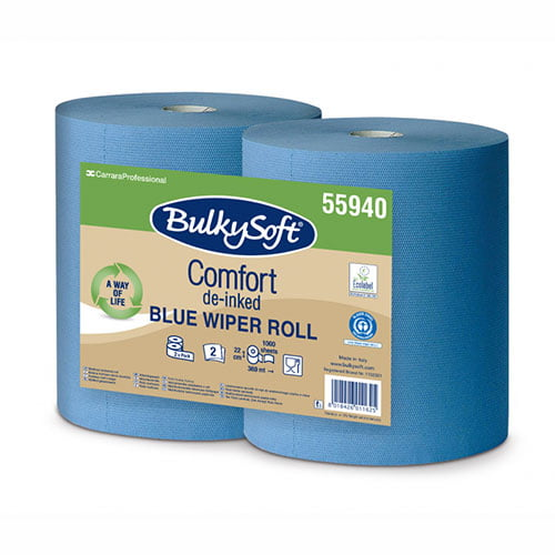 Rola industriala Bulkysoft Comfort, albastra, 2 straturi, 22x36 cm, 1000 portii/rola, 360 m,  2 role/set
