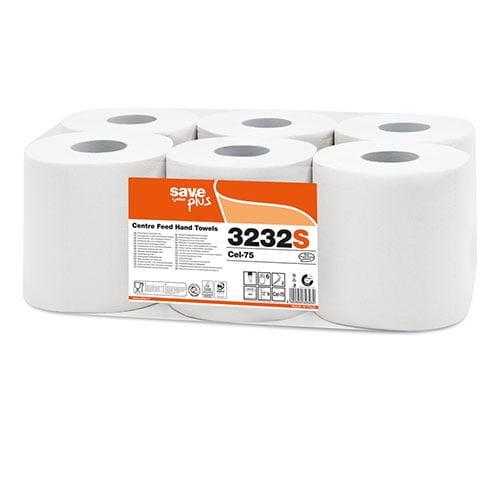 Rolă prosop derulare centrala 3232S 2str albă 108m 6role/UM