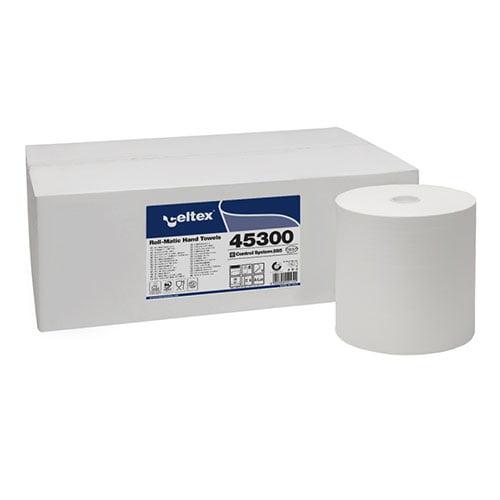 Rola prosop autocut 45300 pentru dispenser cu senzor, 2 straturi, 285ml, alba, 6 role/bax, compatibila cu dispenser CE95430