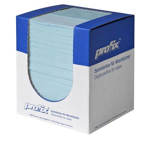 Lavete Profix Escon Crêpé, cutie portabila, 1 strat, amestec de celuloza cu poliester, turcoaz, pliate, dimensiune: 36*30 cm, 150 portii/cutie