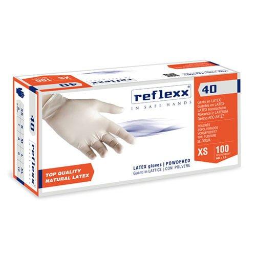 Manusi latex pudrat de unica folosinta R40 , 0.09 microni grosime, 100/cutie