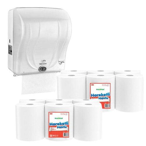 Dispenser cu senzor prosoape de hartie + 2 baxuri prosoape de hartie